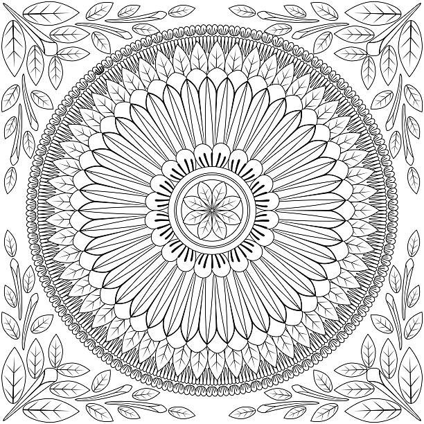 Floral Mandala Pattern Adult Coloring Page. Seamless Pattern…