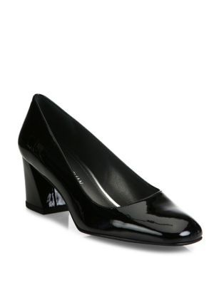 STUART WEITZMAN Marymid Patent Leather Block-Heel Pumps. #stuartweitzman #shoes #pumps