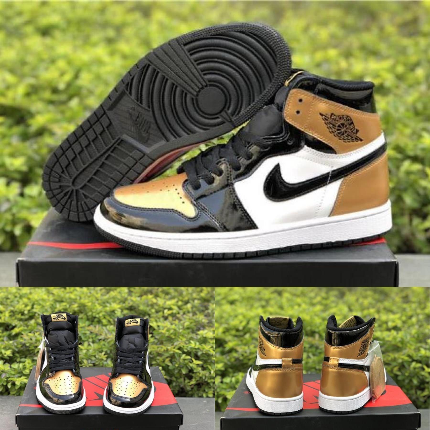 "Air Jordan Retro 1 High Og ""gold Toe"" Black/metallic Gold"