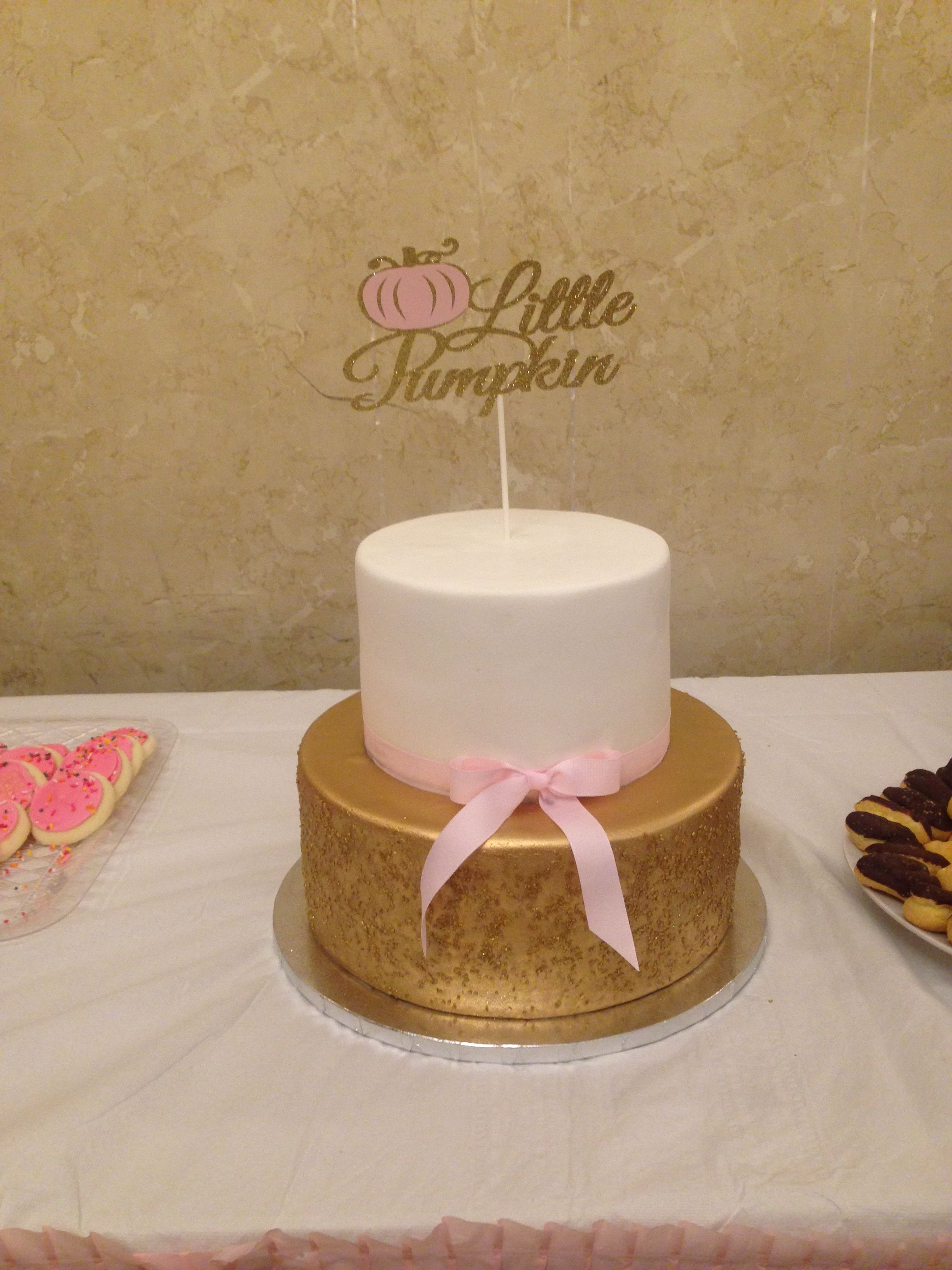 Little Pumpkin Cake Topper For A Pink And Gold Fall Theme Baby