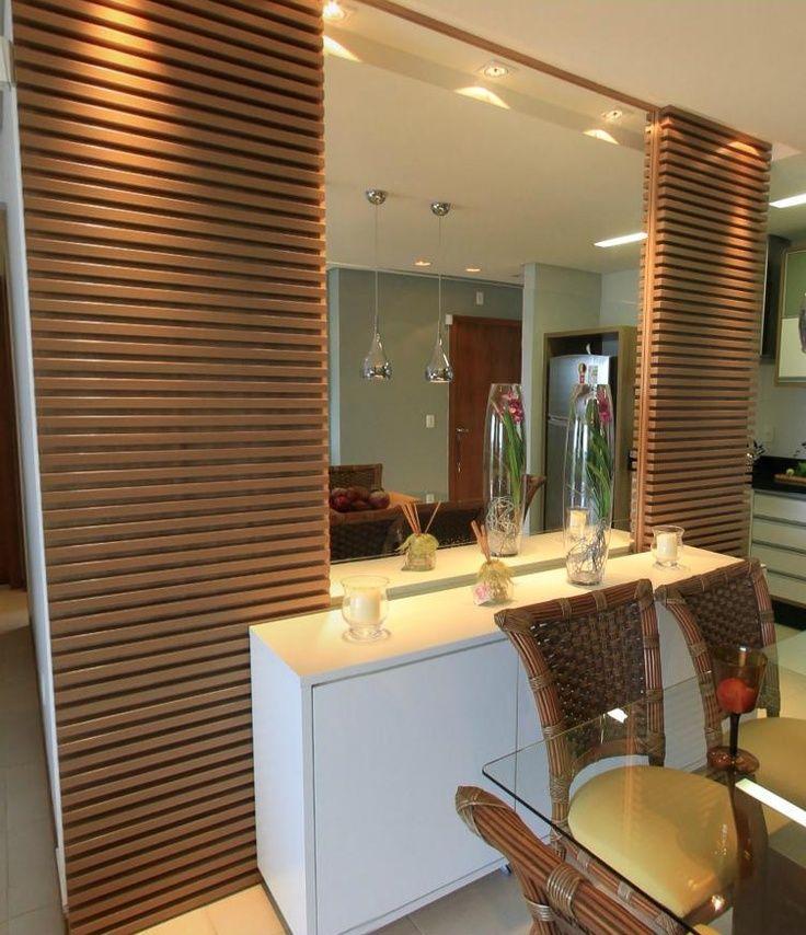 Adesivo De Parede Janela ~ Buffet branco com espelho e madeira Salas com espellhos