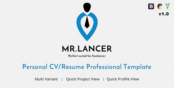 Personal Resume Templates Mr.lancer  Personal Cvresume Template  Httpthemekeeper .