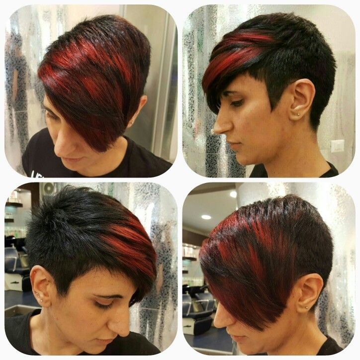 Pixie cute with shaved sides  #color red