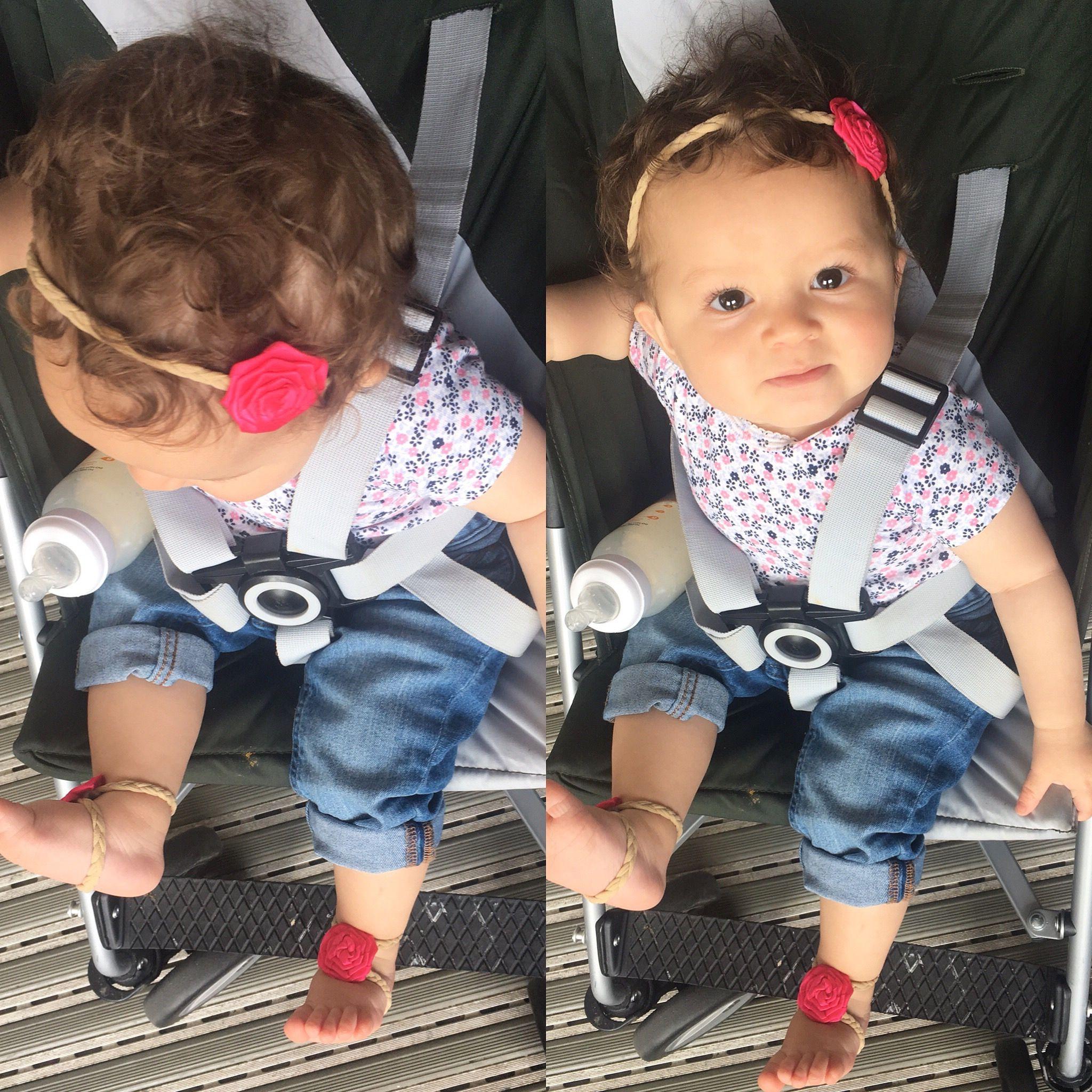 Hot pink baby girls headband baresandals baby girl