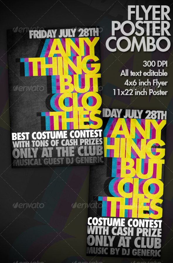 BOLD / COLORFUL / VIBRANT Typography Flyer/Poster Flyer template