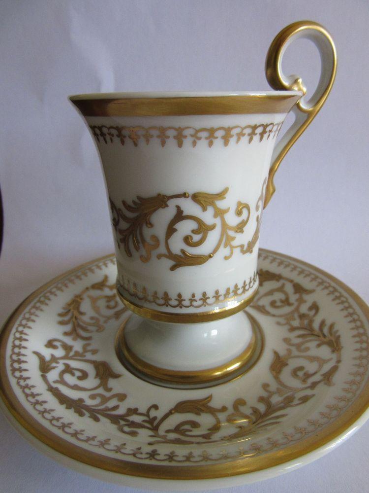 ancienne tasse et sous tasse style empire et dorure porcelaine de limoges ebay tasses. Black Bedroom Furniture Sets. Home Design Ideas