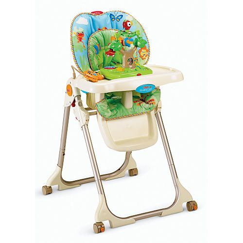 Fisher Price High Chair With Toy Tray Rainforest Fisher Price Babies R Us Baby High Chair High Chair Cute Desk Chair