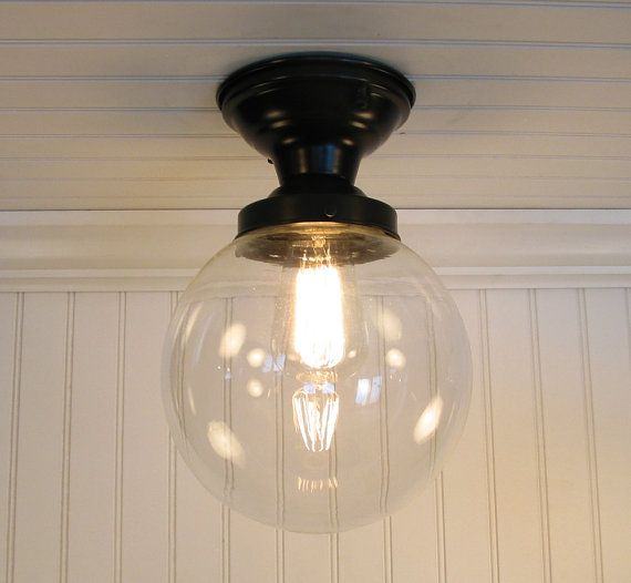 biddeford i. large clear semi flush ceiling light | semi flush