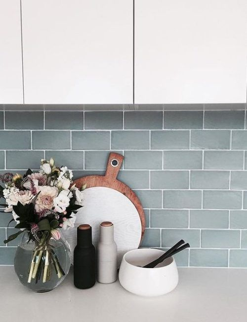 Photo of Trays on kitchen counter top decor