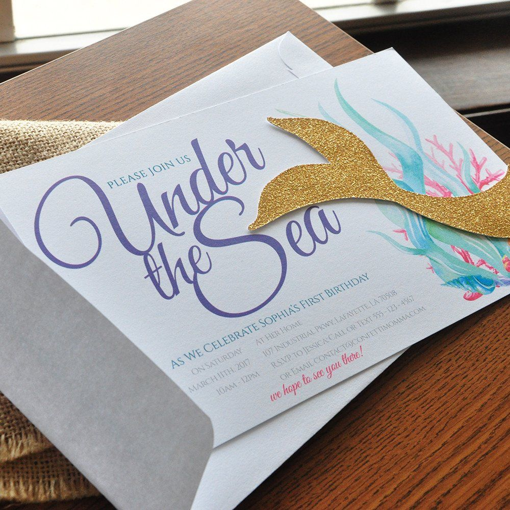 Under the sea invitations with envelopes we print cut glue and under the sea invitations with envelopes we print cut glue and ship to you in 1 3 business days mermaid tail invitations stopboris Image collections