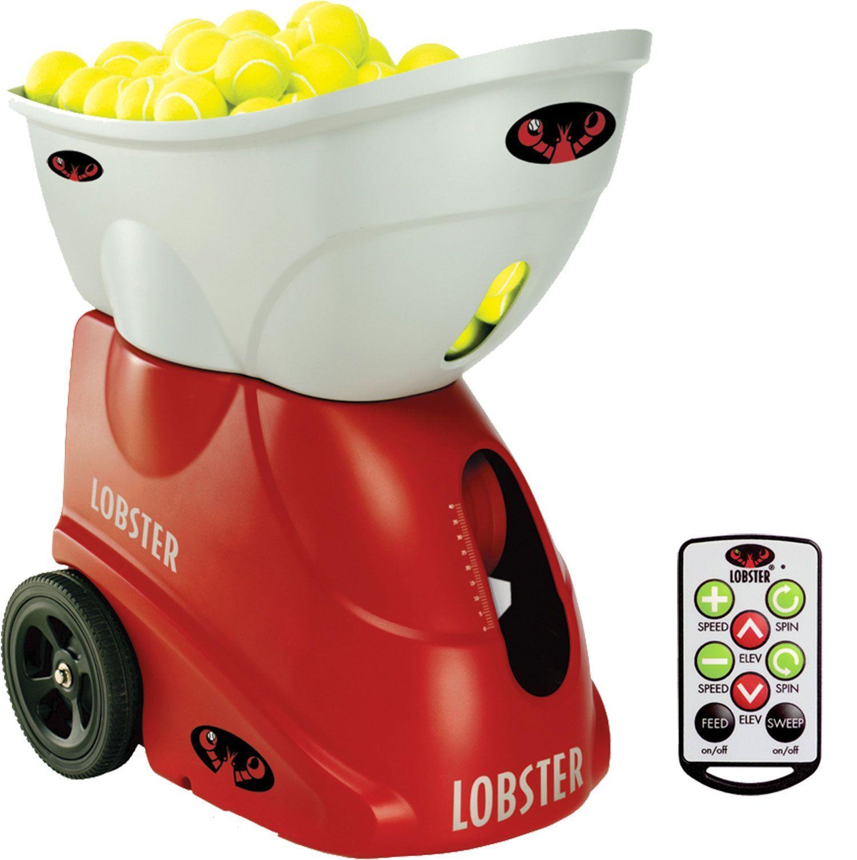 Lobster Sports Elite Three Tennis Ball Machine W Elite10 Remote Control Tennis Equipment Tennis Tennis Accessories