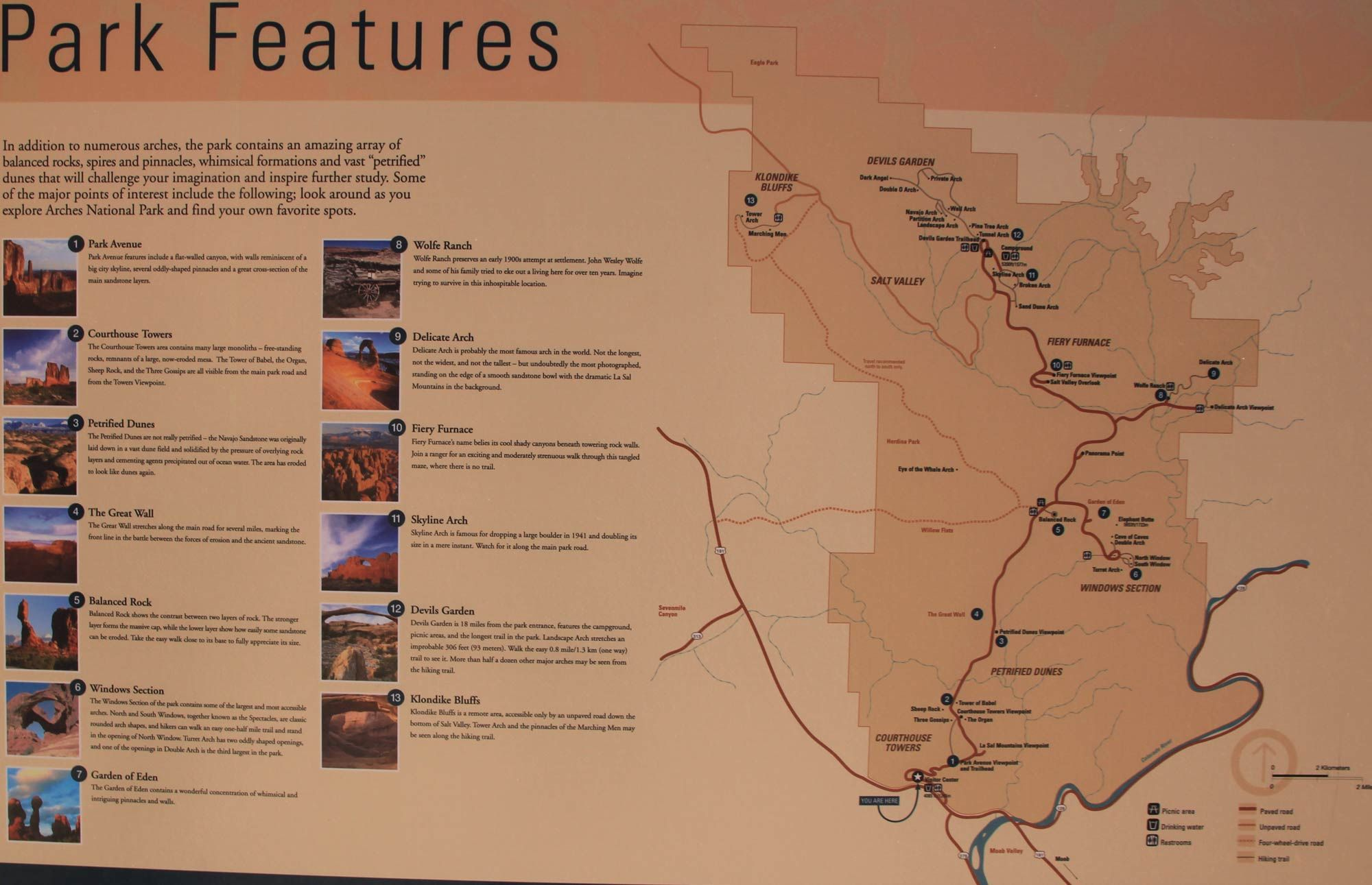 The Features of Arches National Park | Arches NP | National ... on amistad national recreation area map, death valley map, chamizal national memorial map, zion national park trail map, redwood national and state parks map, denali national park and preserve map, city of rocks national reserve map, moab map, monument valley map, devils garden map, antelope canyon map, lake clark national park and preserve map, bering land bridge national preserve map, hawaii volcanoes national park map, grand canyon map, canyonlands national park road map, arizona map, bryce canyon map, sequoia national park map, national park of american samoa map,