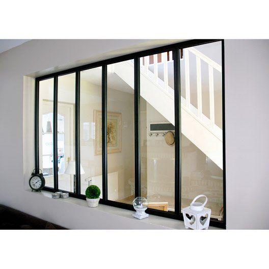 Verriere D Interieur Atelier En Kit Aluminium Noir 6 Vitrages H 1 08 X L 1 83 M Vitrage Vitrages Interieur