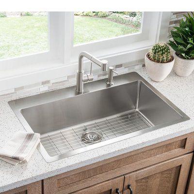 Elkay Crosstown 33  x 22  Undermount Kitchen Sink with Sink Grid Faucet Drillings 5 & Elkay Crosstown 33