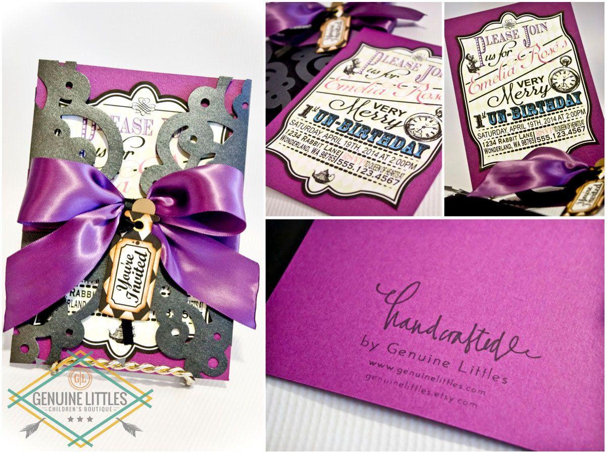Alice in Wonderland InvitationBirthdayShowerWeddingMad Hatter Tea Party Custom