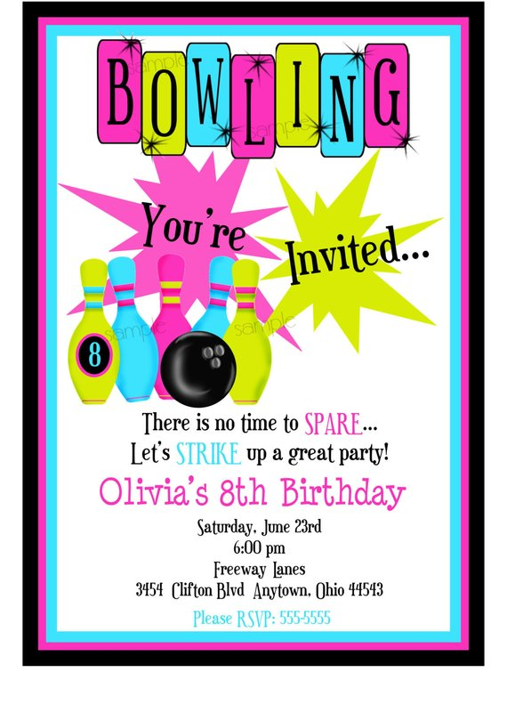 Bowling Invitations, Kids Bowling Birthday Party, Cosmic Bowling
