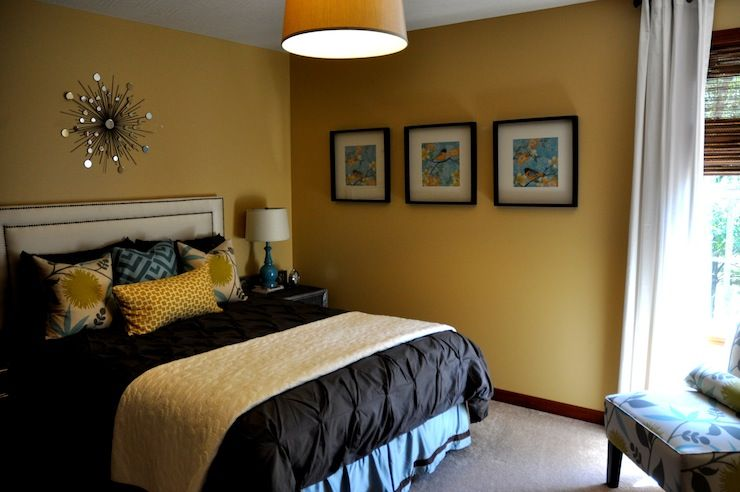 Jul Bedroom Yellow Walls Pintuck Duvet Turquoise Blue Yellow Pillows Slipper Chair