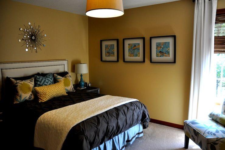 Jul Bedroom Yellow Walls Pintuck Duvet Turquoise Blue Yellow Pillows Slipper Chair Slaapkamer Interieur Slaapkamerdecoratie Slaapkamer Muur