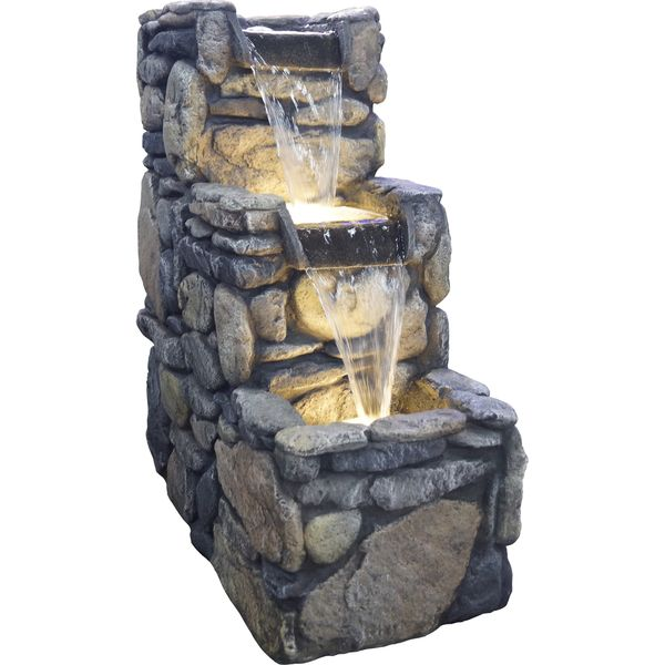 Glendale Resin Stone Lighted Fountain   Overstock™ Shopping   Great Deals  On BOND Outdoor Fountains