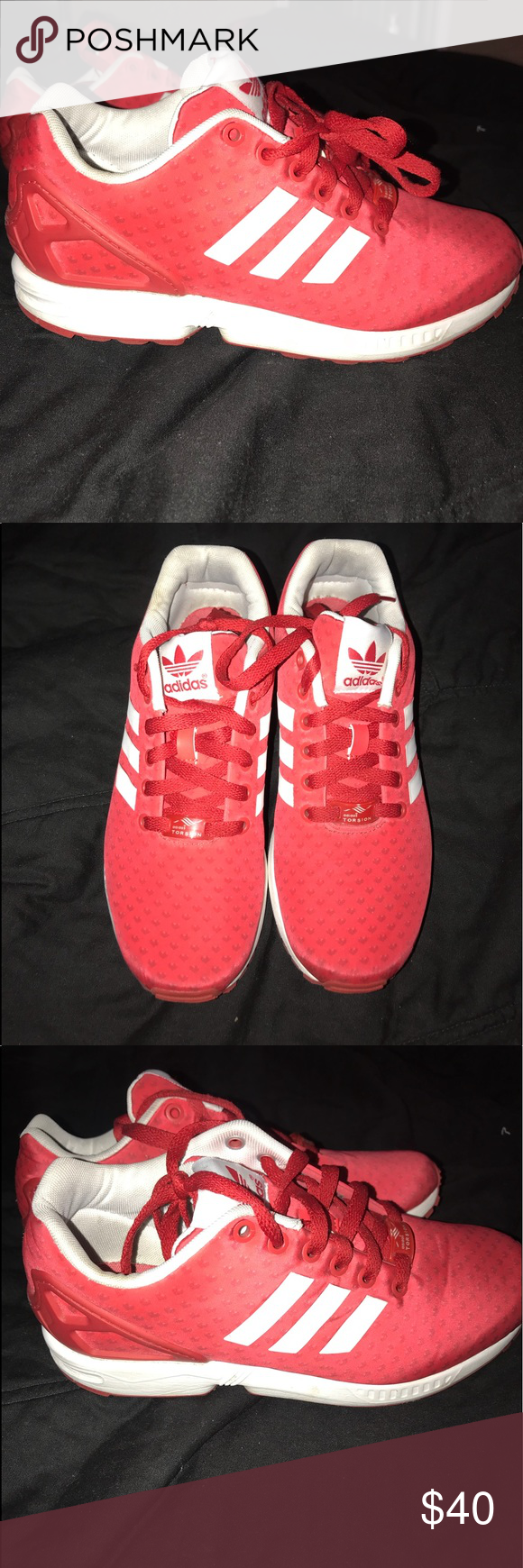 Red adidas ZX flux shoes. Worn