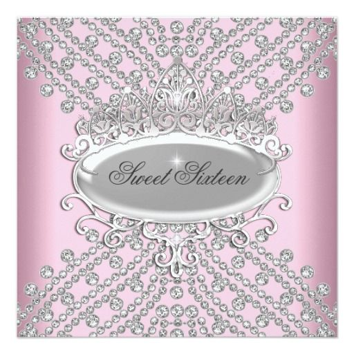 Sweet 16 Sixteen Birthday Pink Diamonds Image Invites Sweet - best of birthday invitation card online maker