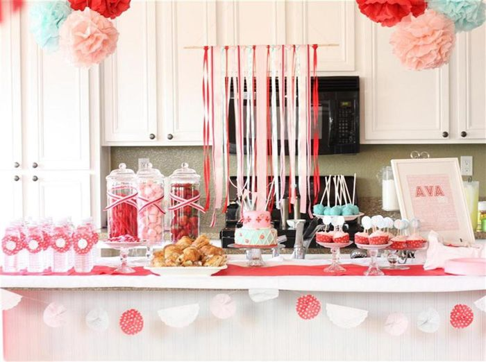 baking party / loving the colors, ribbon streamers and mini cakestands. via amy atlas
