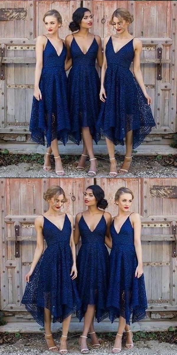 Custom Made Soft V Neck Bridesmaid Dresses, Cheap Bridesmaid Dresses, Navy Bridesmaid Dresses, Lace Bridesmaid Dresses