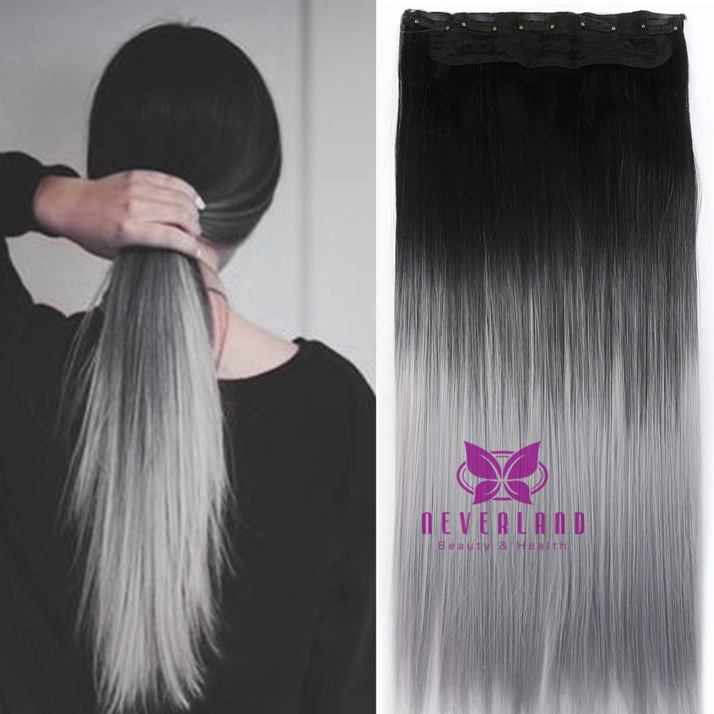 Big Sale Gray Ombre Color Clip In Hair Extensions 16 Clips Straight Style Women Synthetic Hairpiece