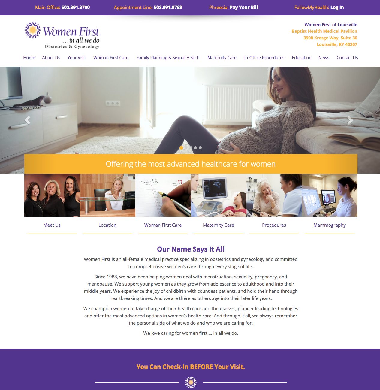 Http Www Wfoflou Com Women S First And Obgyn Obstetrics And Gynecology Practice In Louisville Kentucky Medical Website Design Obstetrics Gynecology