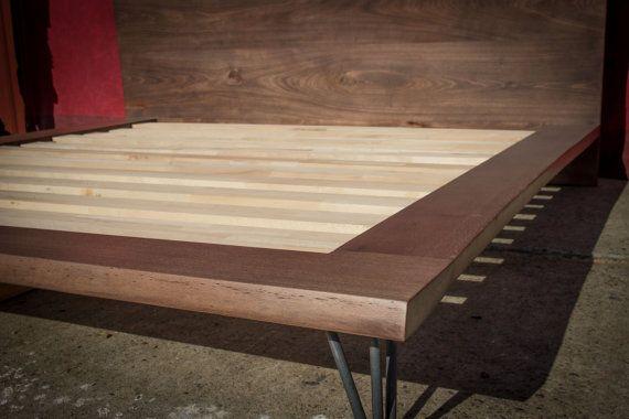 Cama de plataforma, cama King Size, cama de madera maciza marco ...