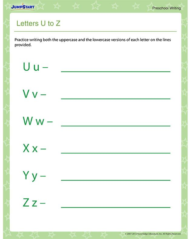Letters U to Z – Free Tracing Letters Worksheet for Preschool ...