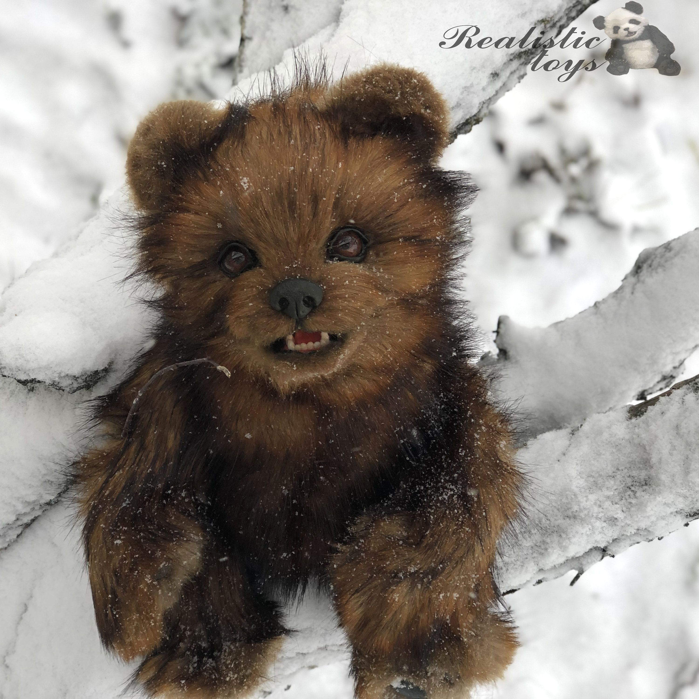 A realistic giant bear, plush teddy brown bear stuffed