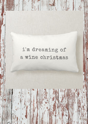 I'm Dreaming of a Wine Christmas Lumbar Pillow |  I'm Dreaming of a Wine Christmas Lumbar Pillow