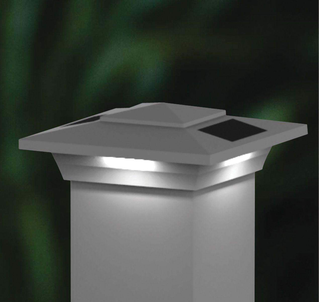4x4 Solar Fence Post Cap Lights - White Low Profile ...