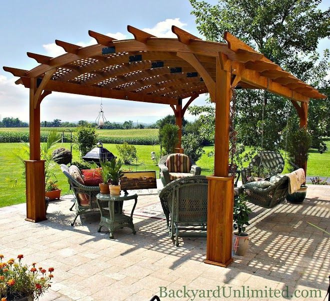12u0027x17u0027 Hearthside Pergola With Lattice, Superior Posts, And Canyon Brown  Stain