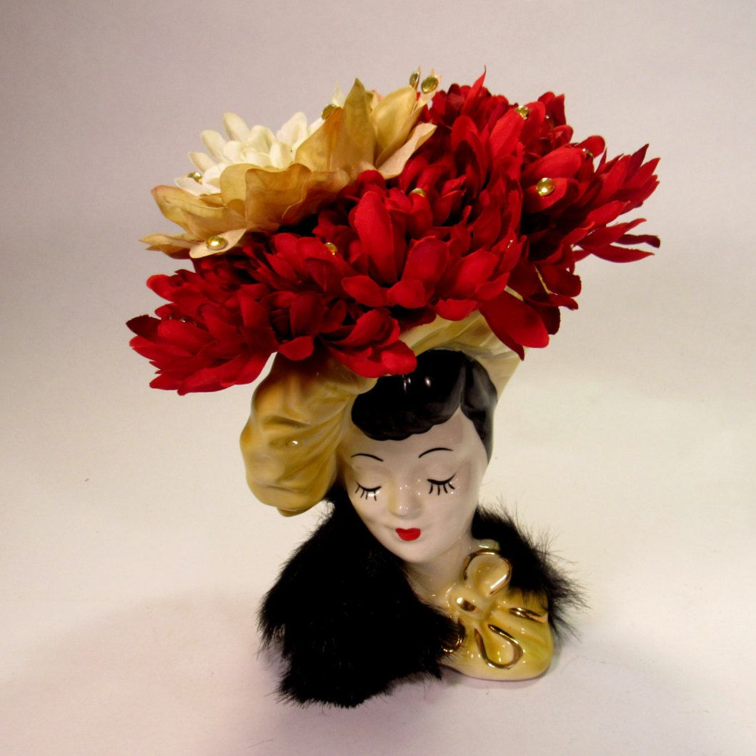 "Pretty Vintage Glamour Girl  Lady Head Vase with  Gold Acrylic  Crystals on Large Flower Hat and Faux Fur Black Wrap.  The Vase 9 1/2"" Tall! by VintageQualityFinds on Etsy"