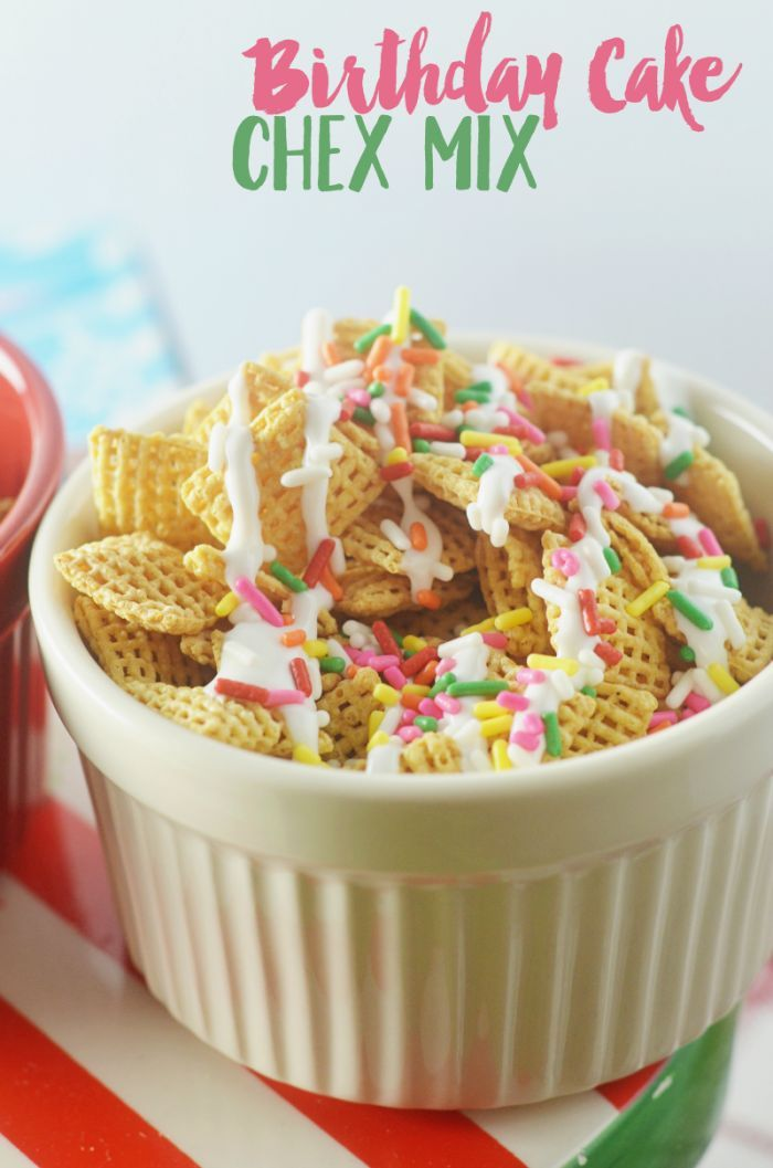 Make Sugar Cookie Chex Party Mix With Powdered Sprinkles And Frosting This Birthday Cake Is Fun To Share