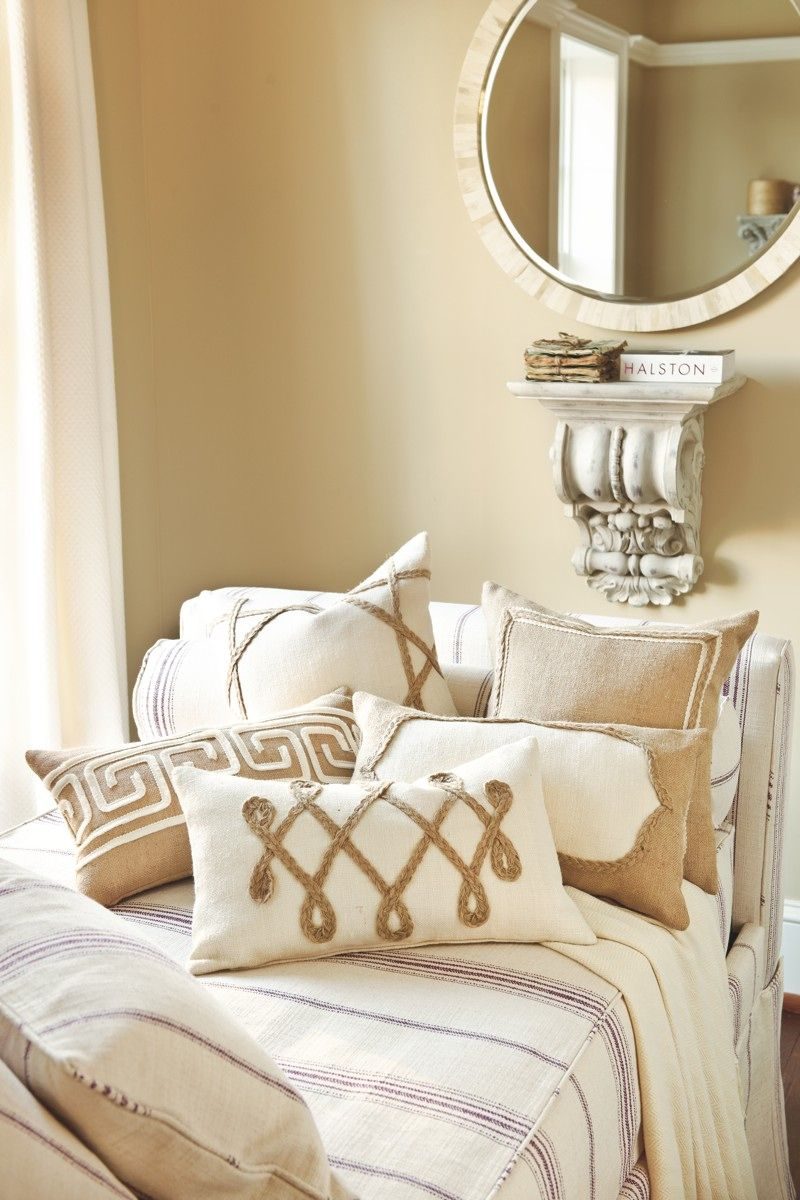Love these Burlap Pillows and the mirror!