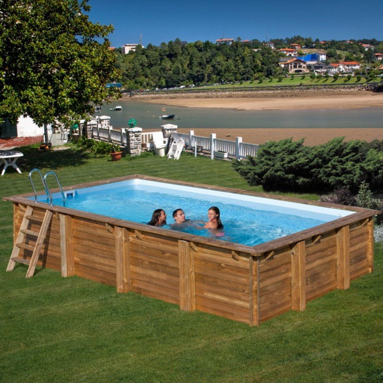 Chlor Shop pool komplettset aus echtholz evora rechteck 600 x 400 x 133 cm