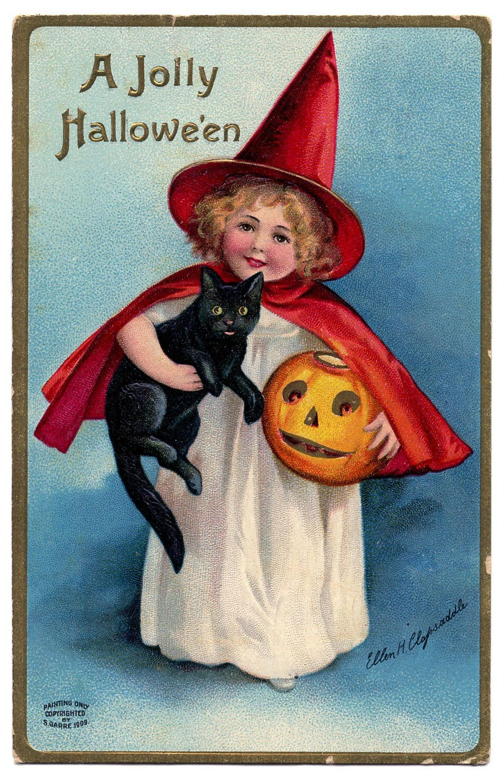 the graphics fairy llc vintage halloween clip art darling little witch girl - Vintage Halloween Witches