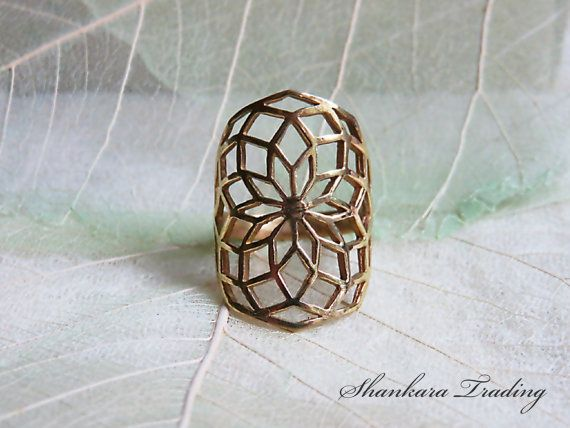 Sacred Geometry Brass Ring, Flower of Life Ring, Tribal Brass Ring, Yoga Jewellery, Ethnic Ring, Tribal Jewellery, Indian Brass Jewelry
