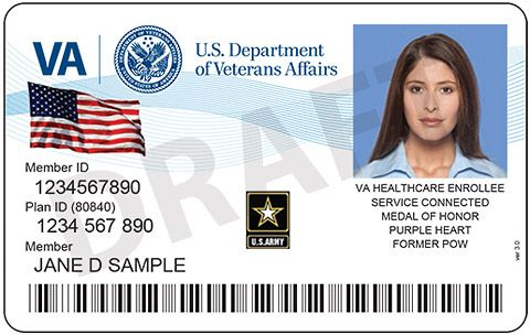Example Of The Front Of An Id Card Showing The Va Logo A Flag
