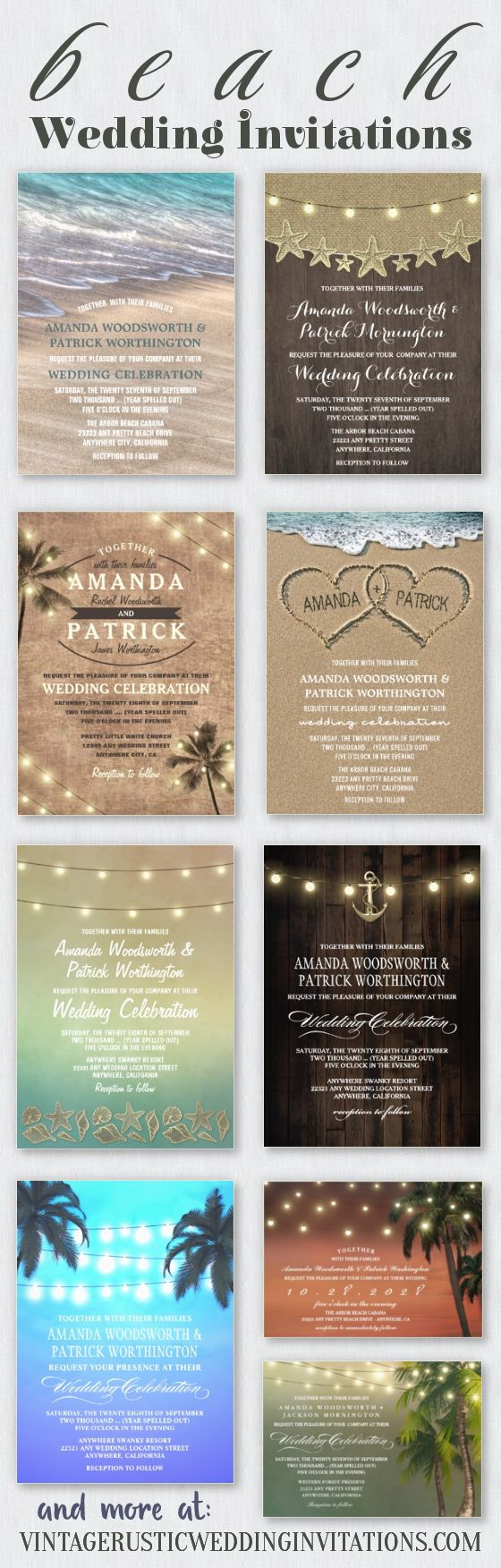 beach wedding invitations features palm tree