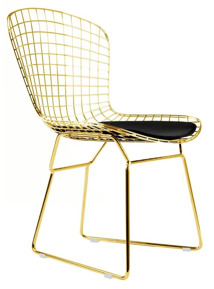 Bertoia Side Chair In Gold Finish Side Chairs Bertoia Side Chair Gold Dining Chairs