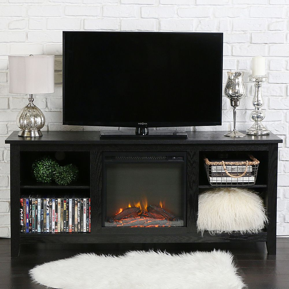 Walker Edison Fireplace Storage Tv Stand For Most Tvs Up To 65