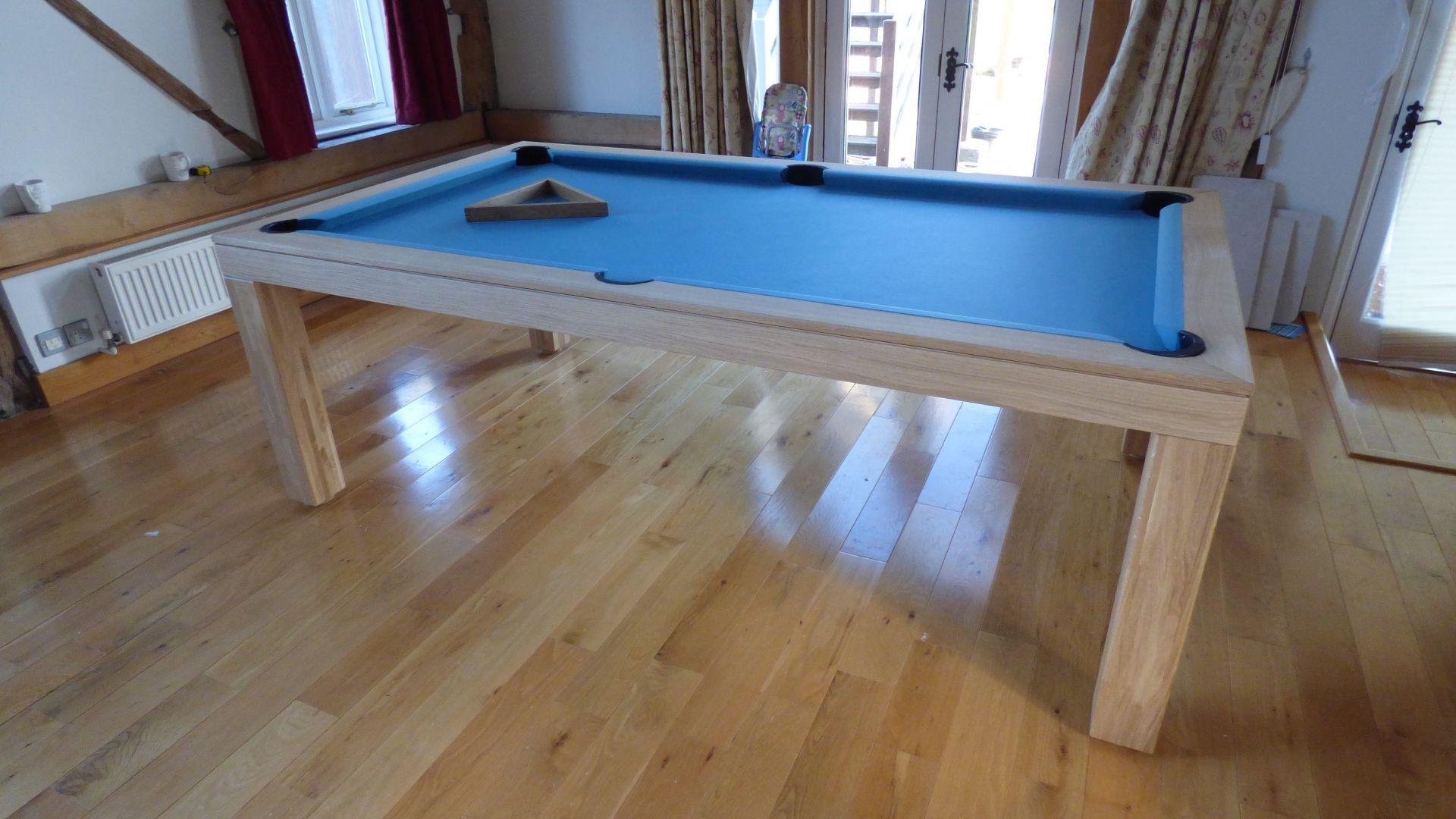 American Contemporary Pool Table Oak Wood Colour Matt - Electric blue pool table