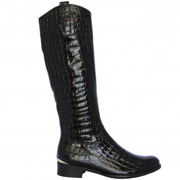 ca29d917dc0 Library modern knee-high boots in black croc patent - Great knee ...