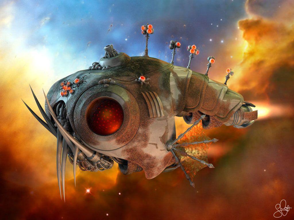 Sci Fi Fish 1024 X 768pix Wallpaper Science Fiction 3d Digital Art Art Science Fiction Art Fantasy Art