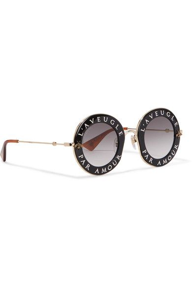 f2b4daae7ca Gucci - Round-frame Acetate And Gold-tone Sunglasses - Black - one size