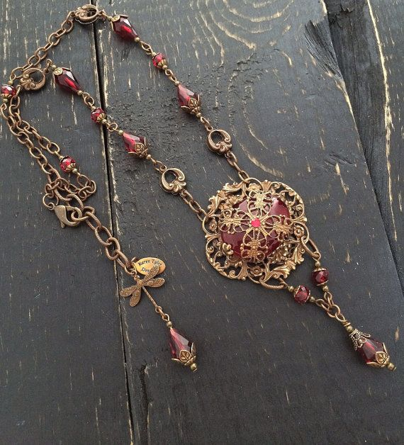 Red Crystal Victorian Necklace, Vintage Filagree Jewelry by Karen Tyler Designs.